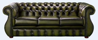 Chesterfield Kimberley 3 Seater Antique Olive Green Leather Sofa Settee