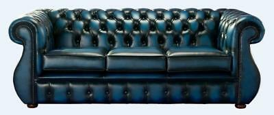 Chesterfield Kimberley 3 Seater Antique Blue Leather Sofa Settee