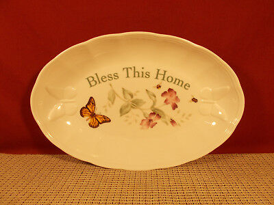 """Lenox China Butterfly Meadow Oval Tray 11 1/4"""" x 7 3/8"""" Bless This Home NWT"""
