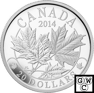 2014 'Majestic Maple Leaves' Proof $20 Silver Coin 1oz .9999 Fine (14014) (NT)