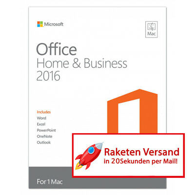 MS Microsoft Office 2016 Mac Home and Business   Vollversion Original Business  