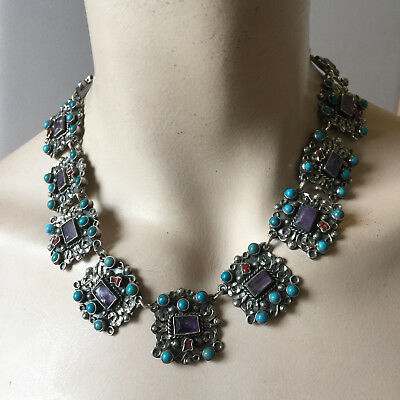 Vintage Taxco Mexico Sterling Silver 925 Necklace Amethyst Turquoise 15'' 110g