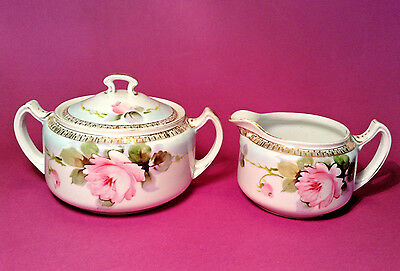 Nippon Noritake Sugar And Creamer - Blue Trim Hand Painted Roses And Gilding