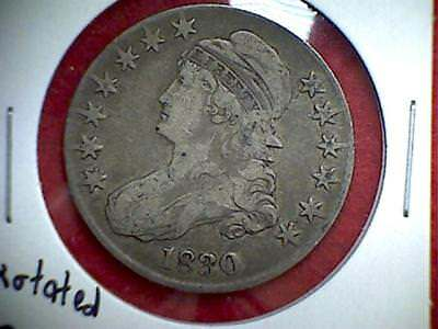 1830 Capped Bust Half Dollar 50c .900 Silver Philadelphia Rotated Reverse