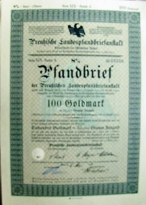 German 100 Gold Marks Pledge Letter, 8% Loan bond dated 3/1930-5/1930