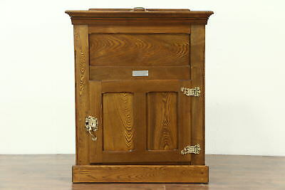 Oak 1895 Antique Kitchen Pantry Ice Box Refrigerator, Signed Monitor