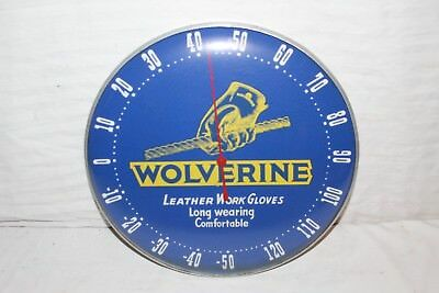 """Vintage 1950s Wolverine Work Gloves Gas Oil Farm 12"""" Metal Thermometer Sign~Nice"""