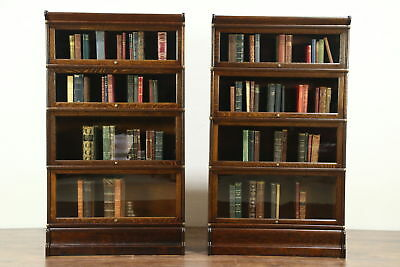 Lawyer Pair Antique 4 Stack Oak Bookcases, Wavy Glass Doors, Globe Wernicke