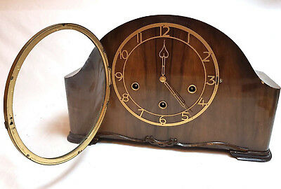 Vintage Wooden Manel Clock Smiths Enfield Chime Silent No Collectable Cariage