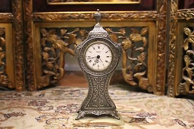 Antique Sterling Silver Swiza Table Clock