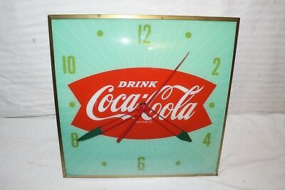 """Vintage 1960's Coca Cola Fishtail Soda Pop 15"""" Lighted Pam Clock Sign~Works"""