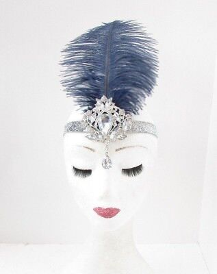 Navy Blue Silver Diamante Feather Headpiece 1920s Headband Flapper Gatsby 5533