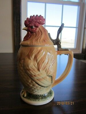 """Rooster Chicken Beer Stein, Ceramic, China , Hinged Lid, Japan, 8 1/2"""""""