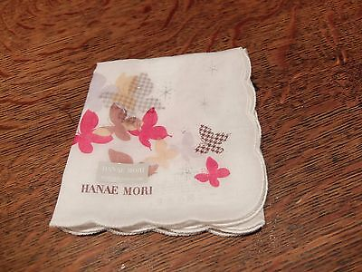 Lovely handkerchief by Hanae Mori,~Japan~ New with tags ~ white with butterflys