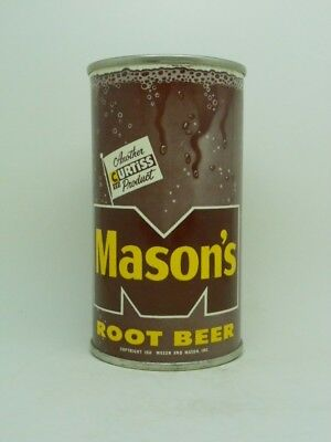 RARE-R 4-PRE ZIP-Masons Root Beer Flat Top Soda Can-C in YELLOW-Chicago ILLINOIS