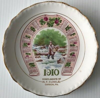 Antique 1910 Calendar Advertising Plate Compliments of H.F. Kunkle of Carbon, PA