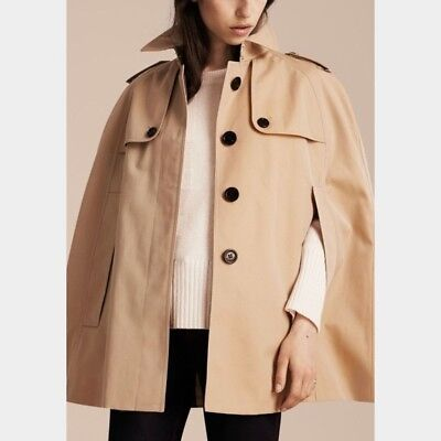 New Authentic BURBERRY WOLSELEY COTTON TRENCH CAPE PONCHO COAT