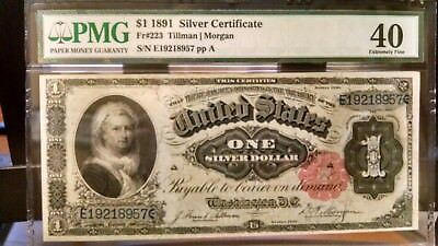 1891 Fr#223 $1 Silver Certificate PMG 40 XF Martha EXTREMELY UNDER GRADED