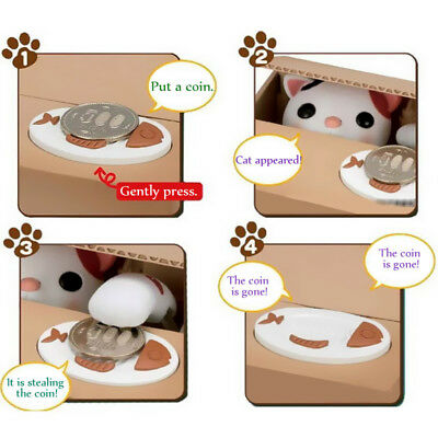 Automated Cute Itazura Cat Steal Coin Bank Toy Gift Piggy Bank Money Saving Box