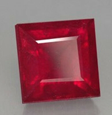 AAA Rated Square Faceted Bright Red Lab Created Ruby (Size 2x2mm to 14x14mm)