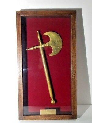 Battle Axe Antique 16th Century Style Brass/Bronze Mounted in Shadow Box