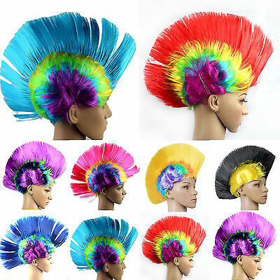 Mohawk Hair Wig Mohican Punk Rock Cosplay Party Fancy Dress Costume Wigs