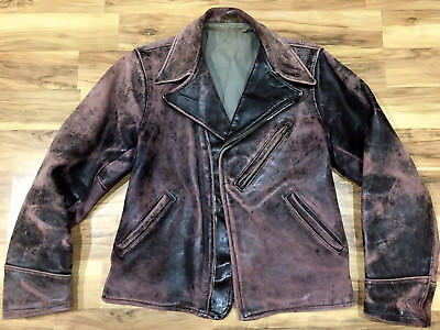 Vintage 1940's Thick Distressed Horsehide Buckle Back MOTORCYCLE JACKET