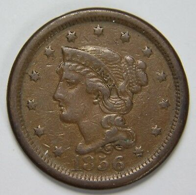 1856 Liberty Braided Hair Large Cent Upright 5 Penny Old US Coin NR P1R B045