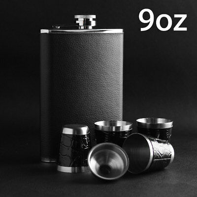 9oz Pocket Stainless Steel Leather Wrapped Liquor Hip Flask Funnel Cup Set Boxed
