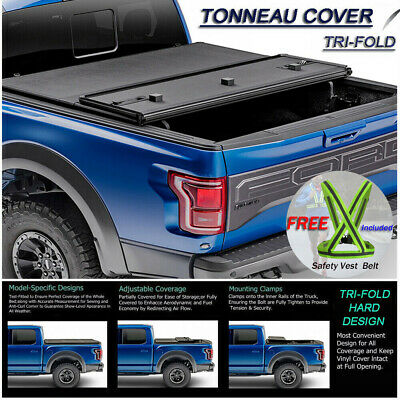 Fits 1994-2001 Dodge Ram 1500 Hard Solid Lock Tri-Fold Tonneau Cover 6.5ft Bed
