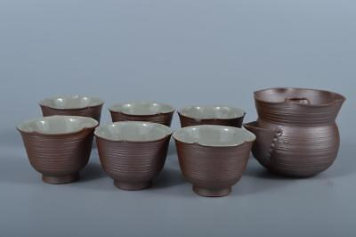 K4158: Japanese Banko-ware Brown pottery Wreathe-shaped Sencha TEAPOT & CUPS