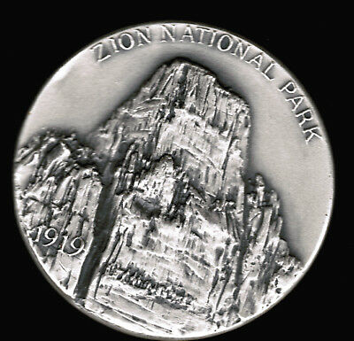 1972 Zion Utah National Park Medal 1.1 ASW Silver 999 Fine