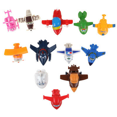 12pcs Super Wings Large Robot Transforming to Plane Helicopter Model Toy Gift