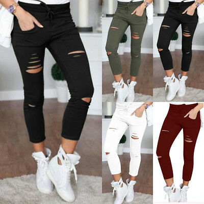 US STOCK Women Denim Skinny Ripped Pants Stretch Jeans Long Pencil Trousers