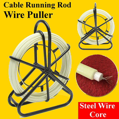 US 100M Fish Tape Fiberglass Wire Cable Running Rod Duct Rodder Puller 4.5mm