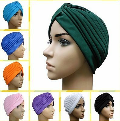 1PC Women Indian Stretchy Cotton Chemo Pleated Turban Hat Head Wrap Hijab Cap
