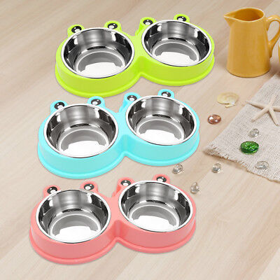 Stainless Steel Anti-Slip Small Pet Dog Cat Bowls Two Bowls Dishes Feeder Pink M
