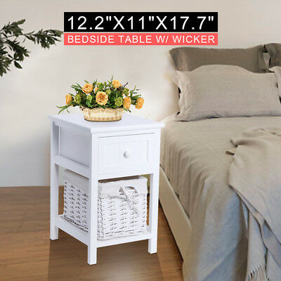 Bedside Table Night Stand Wood Cabinet Storage Home Furniture Side Table White