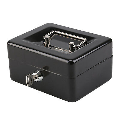 Metal Steel Petty Money Cash With Coin Tray Box Bank Security Lock 2 Keys Top