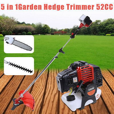 52cc Multi Function Garden Tool 5 in1 Petrol Strimmer Hedge trimmer chainsaws UK