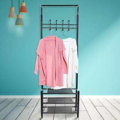 Metal Coat Hat Bag Clothes Cloth Shoe Rack Stand 18 Garment Hanger Hooks Shelves