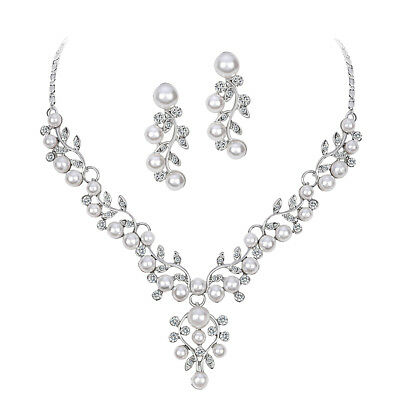 Trendy Wedding Bridal Prom Rhinestone Pearl Necklace Earrings Jewelry Set