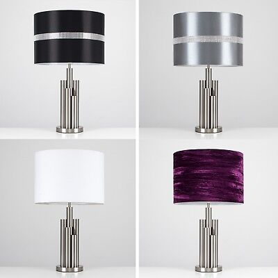 Stylish Brushed Chrome Multi Cylinder Table Lamp Lounge Light Cotton