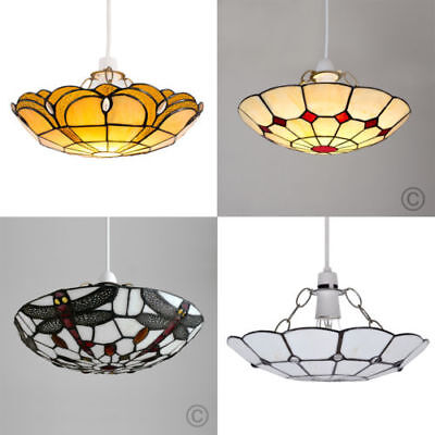 Easy Fit Elegant Stained Glass Tiffany Style Ceiling Lounge Light Home Lighting