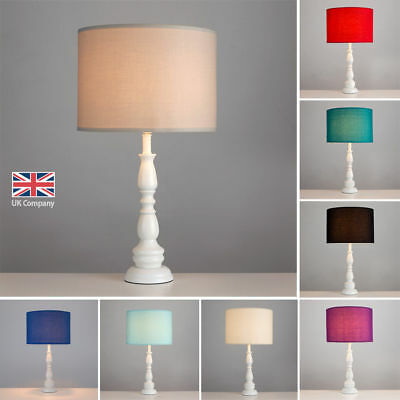 Large Vintage Style White Spindle Table Lamp Lights Bedside 9 Lampshade Colours