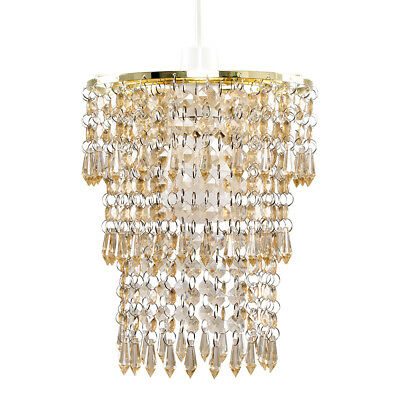 Gold Champagne 3 Tier Chandelier Acrylic Pendant Light Easy Fit Shade + LED Bulb