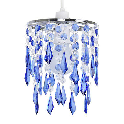 Modern Blue  Clear Acrylic Crystal Ceiling Light Chandelier Lamp Shade Lights