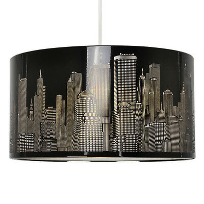 Large Round 40cm Black Metal New York Skyline Ceiling Light Lamp Shade Lampshade