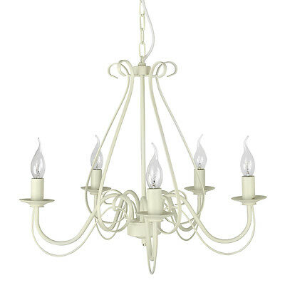 Large Cream Vintage Style 5 Way Ceiling Pendant Light Chandelier Fitting