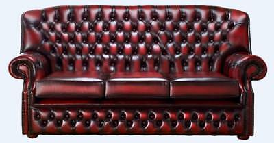 Chesterfield Monks 3 Seater High Back Sofa Antique Oxblood Leather